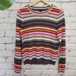 J Crew Merino Wool Retro Pullover Stripe Sweater